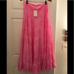 Free people pink  boho tiered maxi skirt size med.